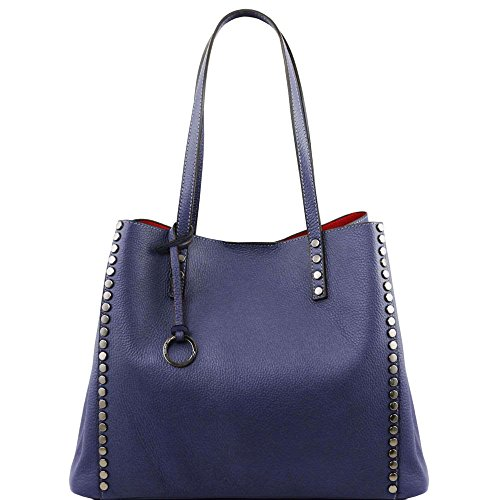 Tuscany Leather - TL Bag - Sac shopping en cuir souple - Bleu foncé
