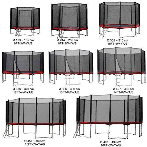 Gartentrampolin Kindertrampolin Trampolin 305 bis 310 cm rot komplettes Set mit Sicherheitsnetz und Einstiegsleiter ...