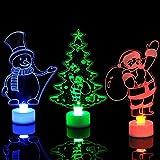 MAYOGO Deko Weihnachten Basteln Klein Nachtlicht Creative Geschenk Baum+Weihnachtsmann+Schneemann 3er / Paket