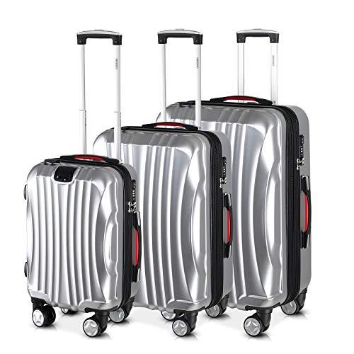 Monzana® Ikarus 3er Set Koffer | Silber M, L, XL | USB-Port TSA-Schloss | Reisekoffer Trolley Kofferset Rollkoffer - Set Tsa-schloss