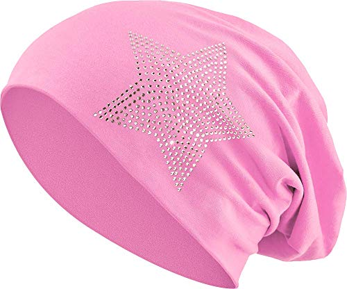 Jersey Baumwolle elastisches Long Slouch Beanie Unisex Herren Damen mit Strass Stern Steinen Mütze Heather in 35 (2) (Light Pink) -