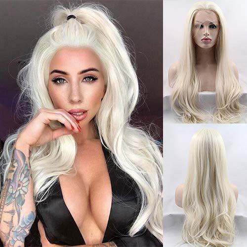 Damenperücke, natürliches Aussehen, hochwertig, blond, lang, natürlich, glatt, synthetische Spitze, für Cosplay oder Partys