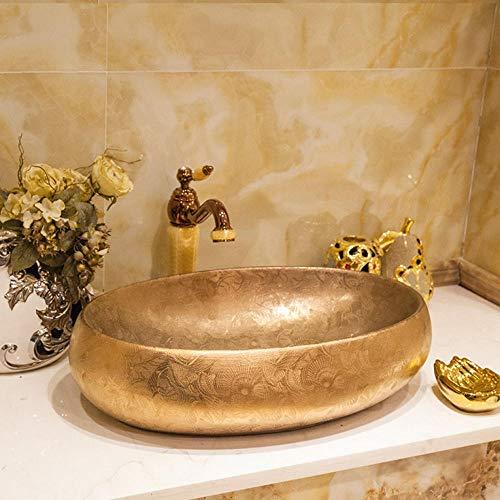 Gorheh Goldenes Oval Silber Mosaik Design Ovales Waschbecken Waschbecken Jingdezhen Art Keramik Waschbecken Waschbecken Arbeitsplatte Badezimmer (Badezimmer Waschbecken-arbeitsplatte)