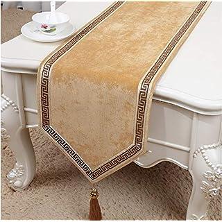 NKLHJ Table Runner Fashion Drapeau De Table Table Basse TV Table Armoire De Chaussures Décoration Flocage Matériau Tissu Table Drapeau Flag 33 * 180Cm (Gold)