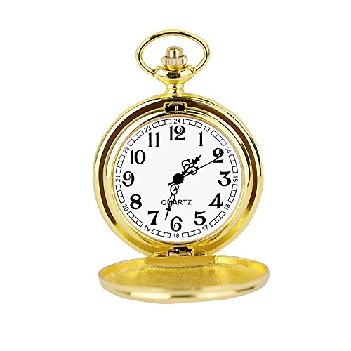 Cuitan Unisex Retro Taschenuhr mit etwa 37,5cm Halskette Kette, Polierte Oberfläche Zeiger Arabische Ziffern Quarzwerk Kettenuhr Umhängeuhr Pocket Watch für Herren und Damen - (Kostüme Jungen Steampunk)