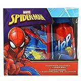 Marvel MV15371 Spiderman Brotdose Aluminium Trinkflasche Frühstück Set