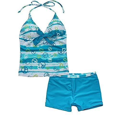 iiniim Girls' 2 Piece Halter Tankini Set Swimwear Swimsuit Beachwear Peace Signs Blue 10 (Foderato Bikini Swimsuit)