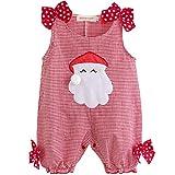 iEFiEL Père Noël Déguisement Salopette Plaid Sans Manches Vêtement Barboteuse Costume Bébé Fille 0-18 Mois (0-3 mois, Rouge)