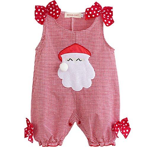 5203e7b3ce6b2 IEFIEL Père Noël Déguisement Salopette Plaid sans Manches Vêtement  Barboteuse Costume Bébé Fille 0-18
