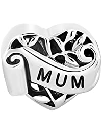 Heart Mum I Love You Mother Family Filigree Charms Sale Cheap Beads fit Pandora Chamilia Bracelet Gift