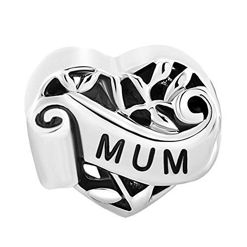 """Charm a forma di cuore i love you, con scritta in lingua inglese """"mum / grandma / sister / wife daughter / niece / aunt"""", per la famiglia, compatibile con braccialetti pandora e base metal, cod. mh_dpc_yc12_parent"""