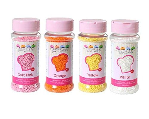 Nonpareils-Set 4tlg.,weiß-gelb-orange-rosa, Zuckerperlen, Zuckerstreusel - 2