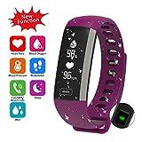 Fitness Armband Uhr mit Pulsmesser Blutdruck Monitor Fitness Tracker Wasserdicht Aktivitätstracker Schrittzähler Schlaf Monitor,Kalorienzähler Anruf / SMS Benachrichtigung (Violett)