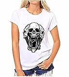 Hippolo Damen T-Shirt weiß Baumwolle mit Schöne Blume Aufdruck (XXXL, 8)