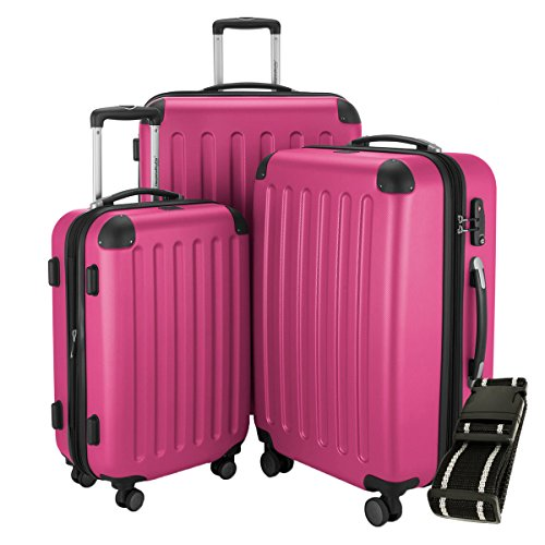 Hauptstadtkoffer - Spree - 3er-Koffer-Set Trolley-Set Rollkoffer Reisekoffer-Set Erweiterbar, TSA, 4 Rollen, (S, M & L), Pink +Gepäckgurt -