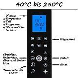 TZS First Austria - 45 Liter, 2000 Watt Digitaler Mini Backofen mit LED Display Innenbeleuchtung, herausnehmbares Krümelblech u. Umluft Mini Pizza-Ofen, Doppelglastür, Timer bis zu 3 Std, Drehspieß Test