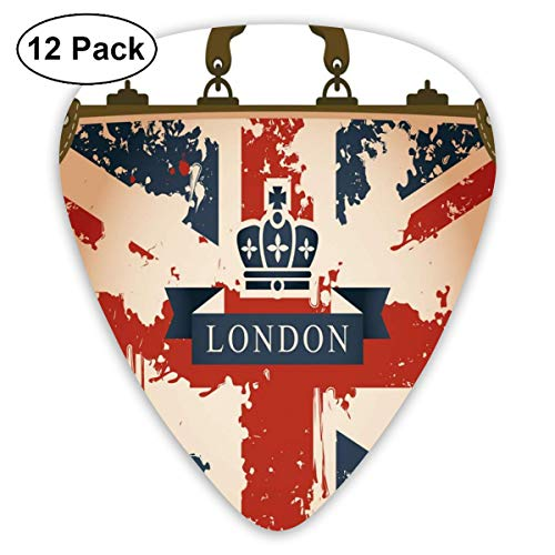 Guitar Picks - Abstract Art Colorful Designs,Vintage Travel Suitcase With British Flag London Ribbon And Crown Image,Unique Guitar Gift,For Bass Electric & Acoustic Guitars-12 Pack - Flag Crown
