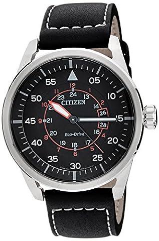Citizen - AW1360-04E - Montre Homme - Quartz Analogique - Cadran Noir - Bracelet Cuir Noir
