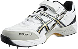 ASICS Mens GEL-SPEED MENACE LO RT FOOT White, Black and Gold Mesh Cricket Shoes - 7 UK