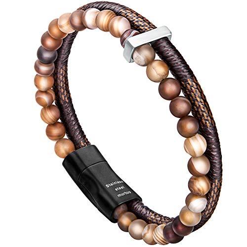 Murtoo bracciale uomo pelle e pietra naturali con chiusura magnetica acciaio inox braccialetto pacco regalo (agata marrone 21cm)