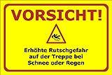 Winter-Schild - Vorsicht - Rutschgefahr Treppe bei Schnee oder Regen - 30x20cm mit Bohrlöchern   stabile 3mm starke Aluminiumverbundplatte – S00018-011-C +++ in 20 Varianten erhältlich