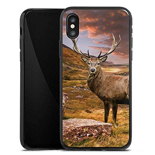 Apple iPhone SE Silikon Hülle Case Schutzhülle Hirsch Landschaft Wiese Silikon Case schwarz