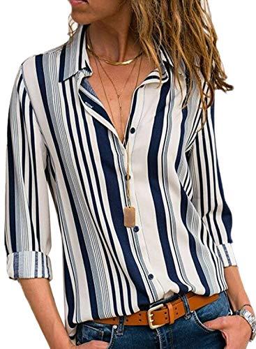 Minetom Bluse Gestreift Damen Hemd Oberteile V-Ausschnitt Lose Casual Chiffon Langarm T-Shirt Top Tunika Elegant Langarmshirt C Weiß DE 40