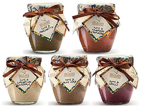 Paté 5er Pack 5 x 90g   Sorten wie Grüne Oliven, Schwarze Oliven, Artichoken mit Pistazie, Artischoken mit Mandeln, Knoblauch, Zwiebeln, Chili, Tomate mit