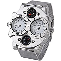 WINOMO Oulm Men Dual-Time Display Quartz Wrist Watch with Thermometer Compass (White)