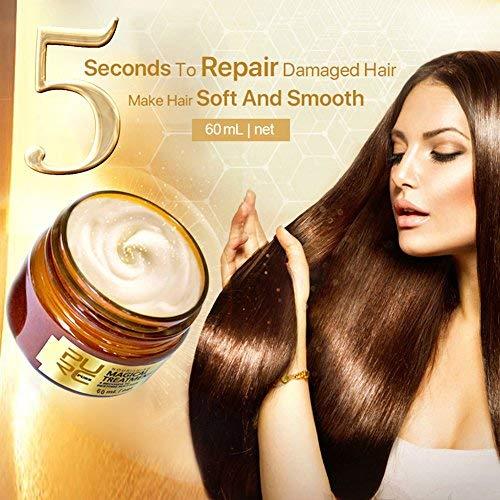Haarmaske, Hair mask mit Arganöl, Aloe Vera, Keratin, ohne Silikon, Haar Haarkur für strapaziertes Haar, sehr Trockene und beanspruchtes Haar, Hair conditioner, 60ml