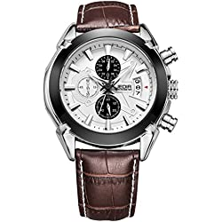 YPS Men Fashion Casual Movement Alloy Leather Band Calendar Display Quartz Wrist Watch WTH5320