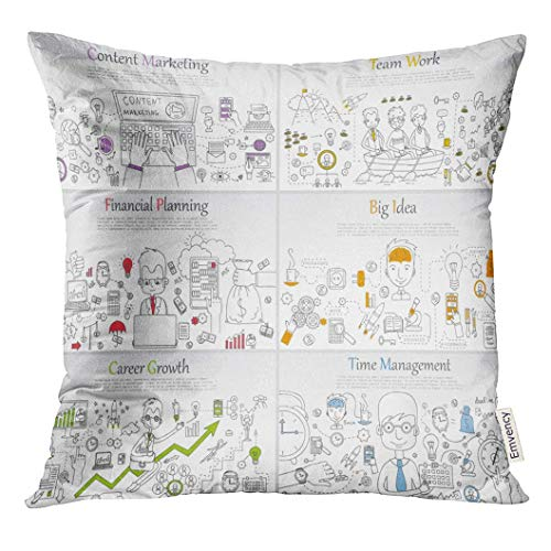 Cover Doodle Line of Templates with Outline Time Management Career Growth Big Idea Finance Planning Team Work Decorative Pillow Case Home Decor Square 18