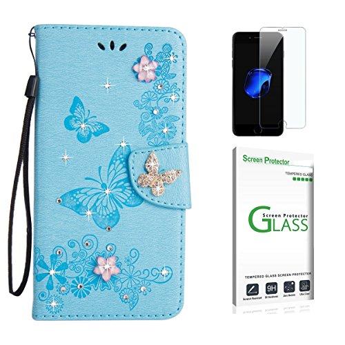 Huawei P20 Pro Hülle [mit Panzerglas],Huawei P20 Pro Handyhülle,Penlicraft Flip Cover PU Leder Glitzer Funkeln [3D Geprägter Schmetterling] Diamant [3D Butterflies] Handyhülle im Brieftasche-Stil mit [Aktualisierter TPU Innenschale] [Standfunktion] Schutzhülle Handyhüllen [Magnetverschluss] Etui Case für Huawei P20 Pro mit Schutzfolie (Blau)