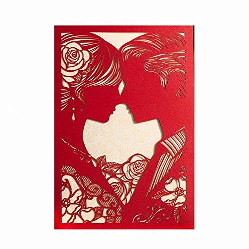 sincek Rosso 20PCS TAGLIO Laser biglietti di invito per matrimonio Kit Bianco Wedding Invita cartoncino per marrage sposa doccia con Kissing sposa e sposo Busta e guarnizioni
