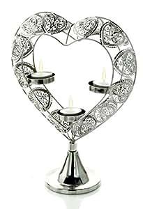 Premier Decorations ba14103131cm silber Effekt Herz Triple Teelichthalter
