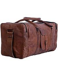 Leather Bag Vintage Handmade 22''Inch Square Travelling Bag /Duffle Bag By Pranjals House