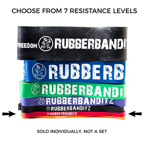Rubberbanditz CrossFit Pull Up Band. #2 Medium/Red 20-35lb/9-16kg with Free GWP - Resistance. For Assisted Pull Ups Muscle Ups Calisthenics CrossFit Powerlifting Physical Therapy Pilates Stretching Street Workouts Full-Body Functional Fitness Workouts