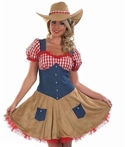 owboy Wilder Westen Kostüm Kleid Outfit UK 8-30 Übergröße - Braun, UK 20-22 (Cowgirl-outfits)
