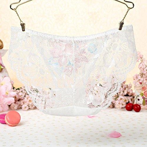 Unterwäsche Damen, FEITONG Spitze Slips Schlüpfer Stickerei String Tangas Unterwäsche Damen Weiß