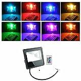 PMS® Extérieur & Intérieur 10W/20W/30W/50W Design Mince RGB LED Projecteurs lampe avec Télécommande (20W)