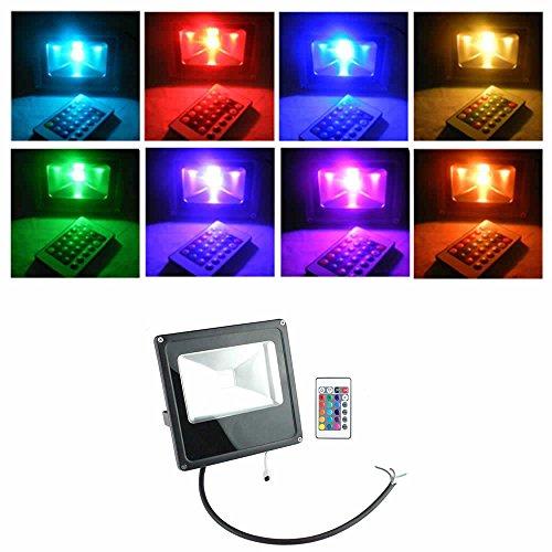 PMS® Extérieur & Intérieur 10W/20W/30W/50W Design Mince RGB LED Projecteurs lampe avec Télécommande (50W)
