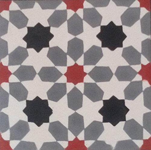 Zementfliese Florina grau weiß rot - Handarbeit - Vintage Jugendstil Fliese für Altbau Neubau