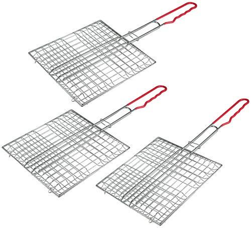 com-four® 3 Premium Grillbräter, Grillwender verchromt XXL, 24 x 24 cm, Multifunktions Grillbräter, spülmaschninengeeignet (03 Stück - Grillbräter)