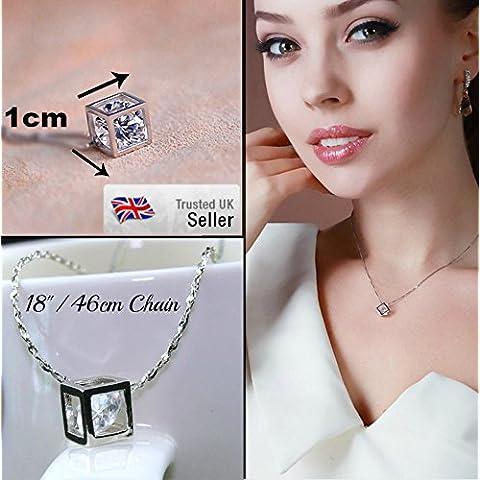 Colgante estilo Pandora de color oro y plata con diamante de cristal en cubo