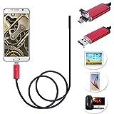 7mm endoscopio inalámbrica, 2in1USB WiFi Serpiente boroscopio [HD cámara con 6ajustable LED luz] impermeable semirrígido serpiente cable para iPhone/Android Smartphone, Rojo, 5M(16.4 FT)