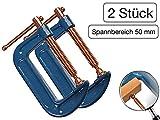 2 Stück Profi C-Schraubzwinge 50mm robust Stahl-Gewinde verkupfert gegen Schweißperlenbesatz