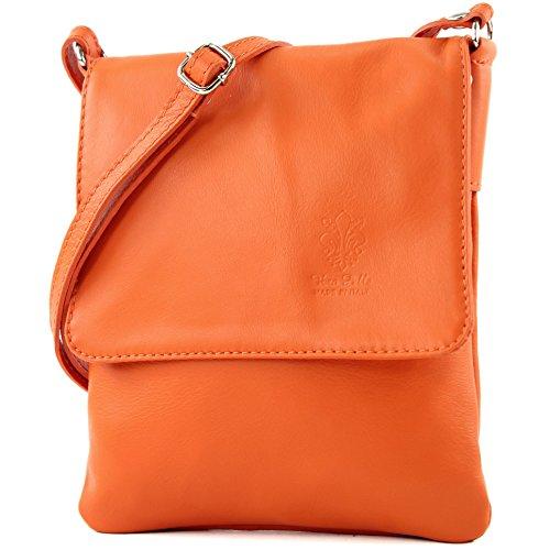modamoda de - ital. Ledertasche Schultertasche Umhängetasche Citytasche klein Damen T34 Orange