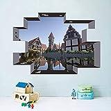 hzcl Minecraft Wall Stickers para Niños Habitaciones Mural Poster Home Decor 3D Ventanas Pared Calcomanías
