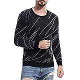 Janly Männer Herbst Winter Pullover Gestrickte Top Printed Sweater Outwear Bluse Bedruckter Pullover für Herren (L, Schwarz)