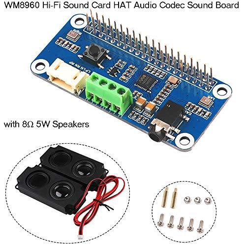 Innovateking-EU Hi-Fi-Soundkarte WM8960 HAT Audio Codec Sound Board-Verstärkermodul WM8960 I2S Erweiterungskarte für Himbeer-Pi Null/Null mit Null WH / 2B / 3B / 3B + Wh-audio